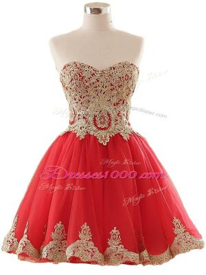 Fancy Red Sweetheart Lace Up Appliques Evening Dress Sleeveless
