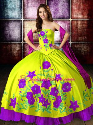 Sleeveless Taffeta Floor Length Lace Up 15 Quinceanera Dress in Yellow Green with Embroidery