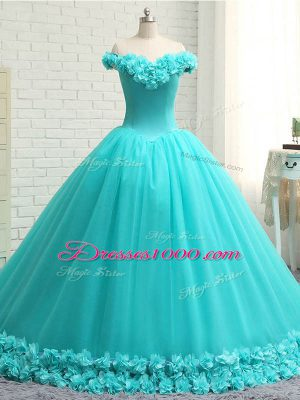 Modest Aqua Blue Lace Up Quinceanera Dress Hand Made Flower Sleeveless Court Train
