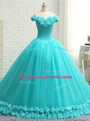 Modest Aqua Blue Lace Up Quinceanera Dress Hand Made Flower Sleeveless Court Train