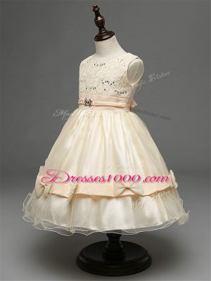 Extravagant Sleeveless Lace and Bowknot Zipper Toddler Flower Girl Dress