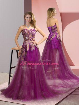 Excellent Purple Sleeveless Appliques Zipper Pageant Dress Wholesale