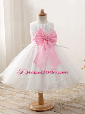 White Juniors Party Dress Wedding Party with Bowknot Scoop Sleeveless Zipper