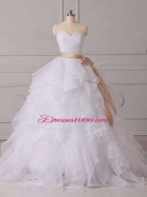 Sumptuous Sleeveless Organza Brush Train Lace Up Wedding Gowns in White with Beading and Ruffles and Sashes ribbons