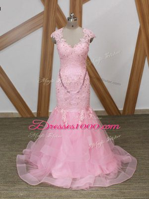 Classical Mermaid Formal Evening Gowns Baby Pink V-neck Tulle Cap Sleeves Backless