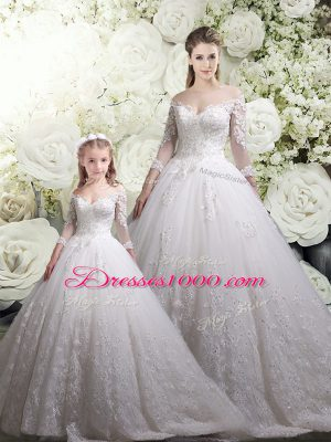 Off The Shoulder Half Sleeves 15 Quinceanera Dress Chapel Train Lace White Tulle