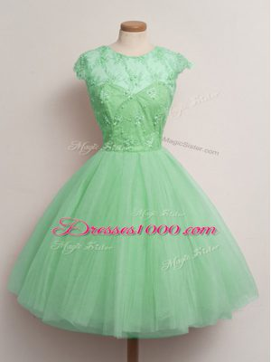 Knee Length Turquoise Damas Dress Scoop Cap Sleeves Lace Up