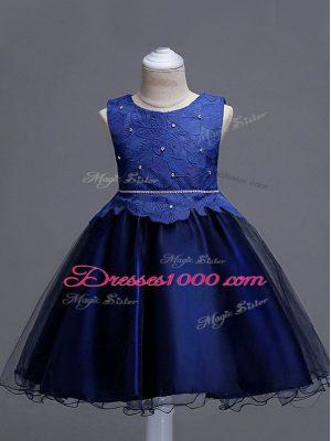 Scoop Sleeveless Toddler Flower Girl Dress Knee Length Lace Navy Blue Organza