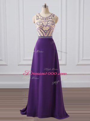 Zipper Prom Party Dress Purple for Prom and Military Ball and Sweet 16 with Beading Brush Train