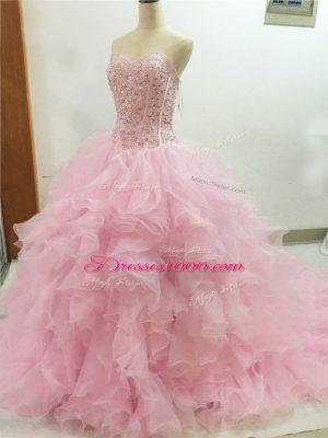 Perfect Baby Pink Sleeveless Brush Train Beading and Ruffles Vestidos de Quinceanera