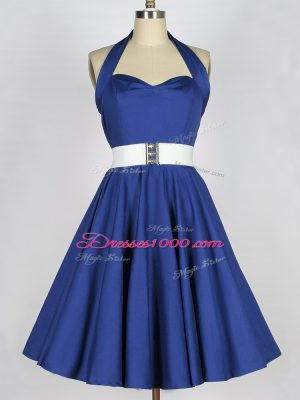 Designer Blue A-line Halter Top Sleeveless Taffeta Knee Length Lace Up Belt Damas Dress