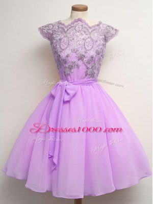 Inexpensive Cap Sleeves Lace and Belt Lace Up Quinceanera Dama Dress