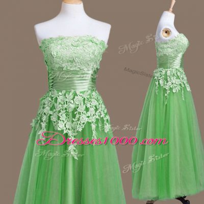 Suitable Green Strapless Neckline Appliques Quinceanera Dama Dress Sleeveless Lace Up