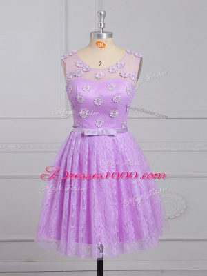 Appliques and Belt Quinceanera Court Dresses Lilac Lace Up Sleeveless Mini Length