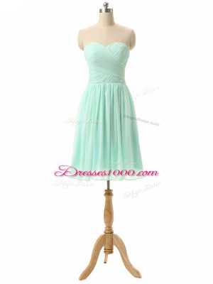 Excellent Sweetheart Sleeveless Chiffon Quinceanera Court of Honor Dress Ruching Lace Up
