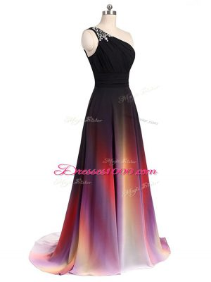 Customized Chiffon Sleeveless Brush Train Lace Up Beading Prom Dresses in Multi-color