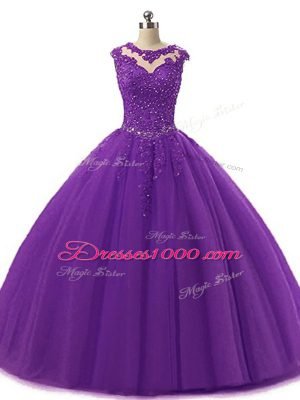 Fine Floor Length Ball Gowns Sleeveless Dark Purple Quinceanera Dresses Lace Up