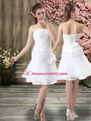 White Chiffon Lace Up Strapless Sleeveless Knee Length Wedding Gown Hand Made Flower