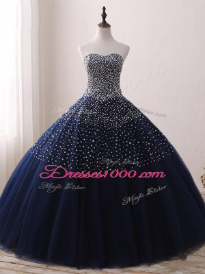 Fashion Navy Blue Ball Gowns Beading Sweet 16 Quinceanera Dress Lace Up Tulle Sleeveless Floor Length