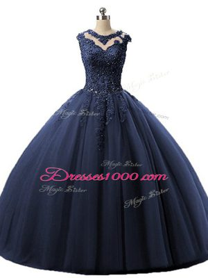 Navy Blue Scoop Neckline Beading and Lace Ball Gown Prom Dress Sleeveless Lace Up