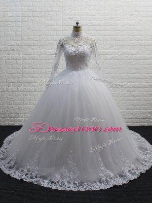 Exquisite High-neck Long Sleeves Wedding Gowns Brush Train Lace White Tulle