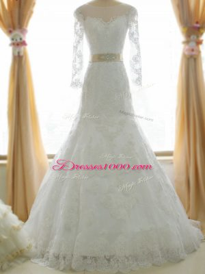 Fantastic Scoop Long Sleeves Tulle Wedding Gowns Lace and Appliques Brush Train Zipper