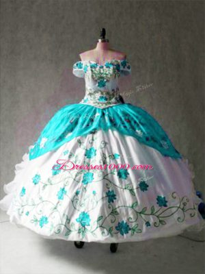 Pretty Off The Shoulder Cap Sleeves Lace Up Sweet 16 Quinceanera Dress Multi-color Organza and Taffeta