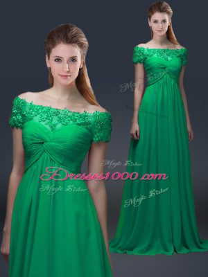 Chiffon Short Sleeves Floor Length Mother of Bride Dresses and Appliques