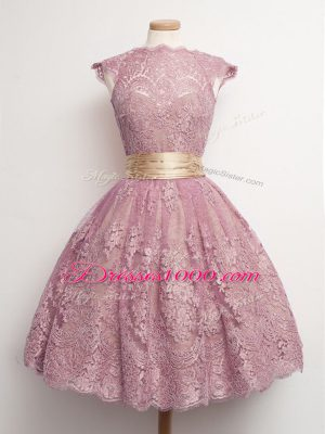 Pretty Knee Length Ball Gowns Cap Sleeves Peach Bridesmaid Dress Lace Up