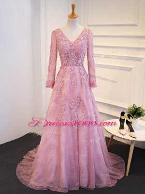 Pink Tulle Lace Up V-neck Long Sleeves Mother of Bride Dresses Brush Train Lace and Appliques