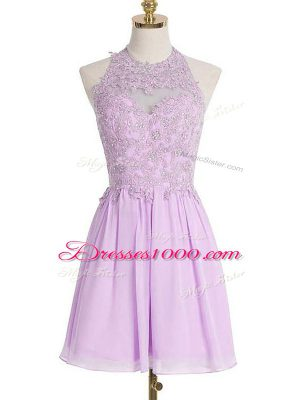 Appliques Vestidos de Damas Lavender Lace Up Sleeveless Knee Length