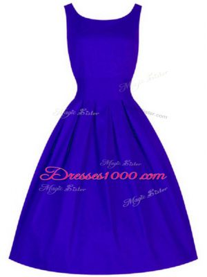 Cheap Blue Sleeveless Ruching Knee Length Wedding Guest Dresses