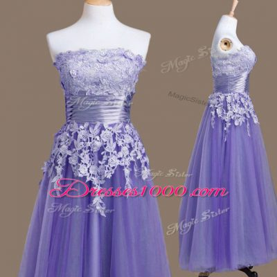 Strapless Sleeveless Lace Up Bridesmaid Gown Lavender Tulle