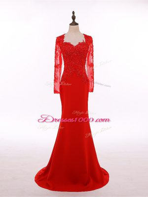 Chiffon Long Sleeves Floor Length Mother of Bride Dresses and Lace and Appliques