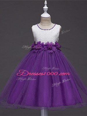 Tulle Scoop Sleeveless Zipper Lace and Hand Made Flower Little Girls Pageant Dress Wholesale in Purple