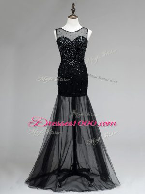 Suitable Black Empire Tulle Scoop Sleeveless Beading Floor Length Backless Prom Party Dress