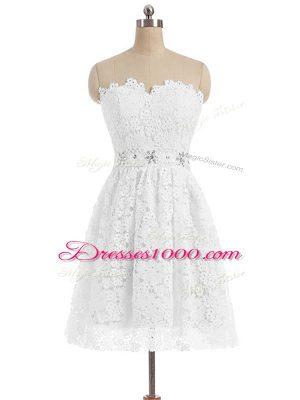 Sweetheart Sleeveless Zipper Dress for Prom White Lace