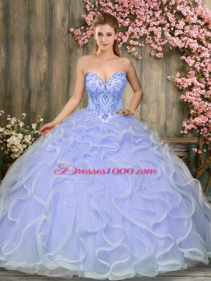 Lavender Tulle Lace Up Sweetheart Sleeveless Floor Length Quince Ball Gowns Beading and Ruffles