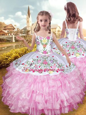 Ball Gowns Little Girl Pageant Gowns Rose Pink Straps Organza and Taffeta Sleeveless Floor Length Lace Up