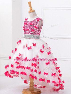 Modern A-line Little Girl Pageant Dress White Scoop Tulle Sleeveless High Low Zipper