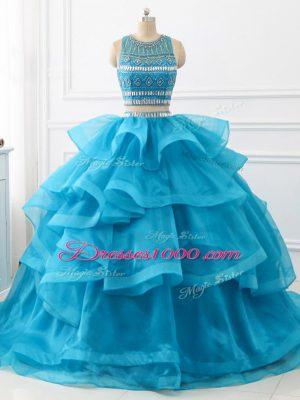 Latest Baby Blue Sleeveless Brush Train Beading and Ruffles Sweet 16 Dresses
