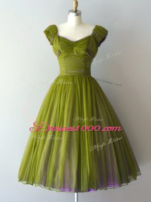 Olive Green Cap Sleeves Chiffon Lace Up Bridesmaids Dress for Prom and Party and Military Ball and Sweet 16
