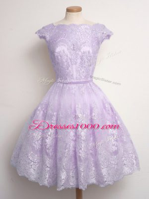 Cap Sleeves Knee Length Lace Lace Up Wedding Guest Dresses with Lavender