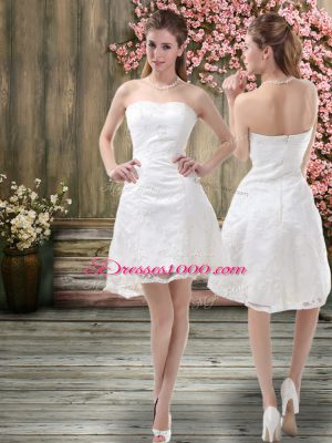 Fine White A-line Organza Off The Shoulder Sleeveless Embroidery Mini Length Zipper Wedding Gown