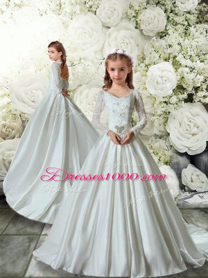 Spectacular White Long Sleeves Lace Clasp Handle Flower Girl Dresses