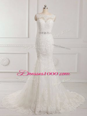 High End White Backless Scalloped Beading and Lace and Appliques Bridal Gown Tulle Sleeveless Brush Train
