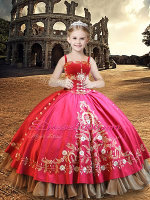 Top Selling Sleeveless Lace Up Floor Length Embroidery Kids Pageant Dress