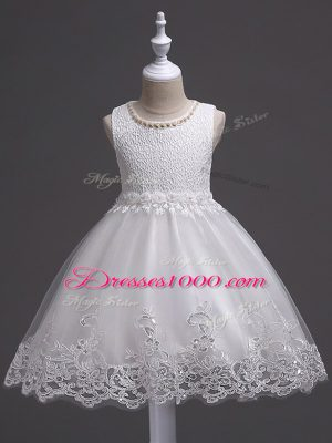 Fantastic White Sleeveless Tulle Zipper Flower Girl Dress for Wedding Party