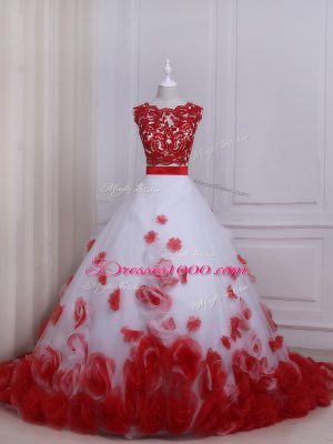 Suitable White And Red Tulle Zipper Wedding Gown Sleeveless Brush Train Appliques