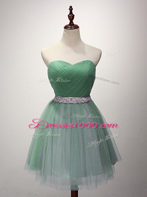 Fashion Green Sweetheart Lace Up Beading and Ruching Bridesmaid Gown Sleeveless
